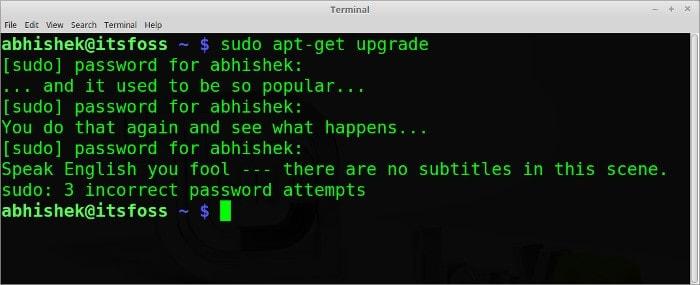 sudo insulta el comando divertido de Linux