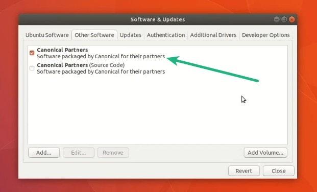 Habilite el repositorio de Canonical Partners en Ubuntu 17.10