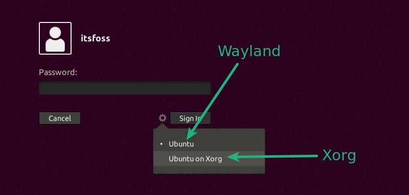 Cambie al servidor de visualización xorg de Wayland