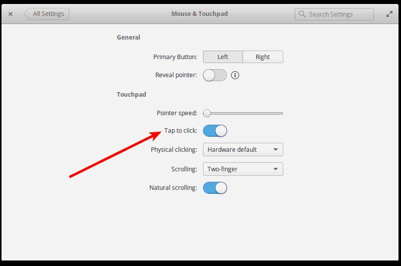 habilite el toque para hacer clic en el sistema operativo elemental Loki