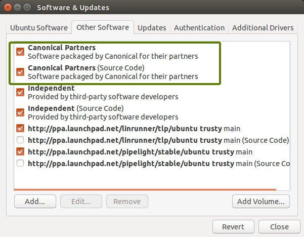 Включить Canonical партнеров в Ubuntu 14.04