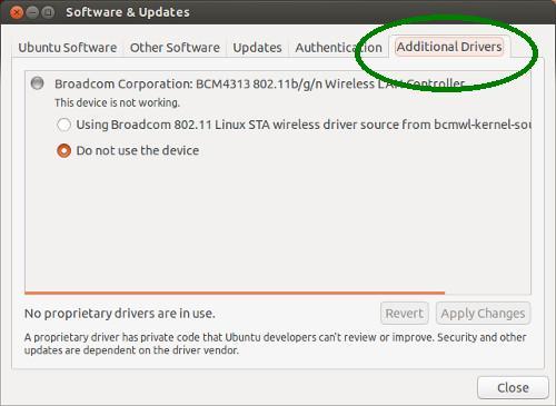 Установите дополнительные драйверы в Ubuntu 13.04