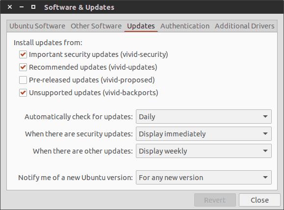 ソフトウェア更新頻度の変更