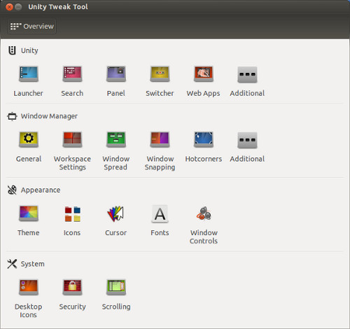 Herramienta de ajuste de Ubuntu Unity