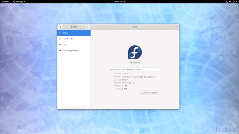 Системные настройки Fedora