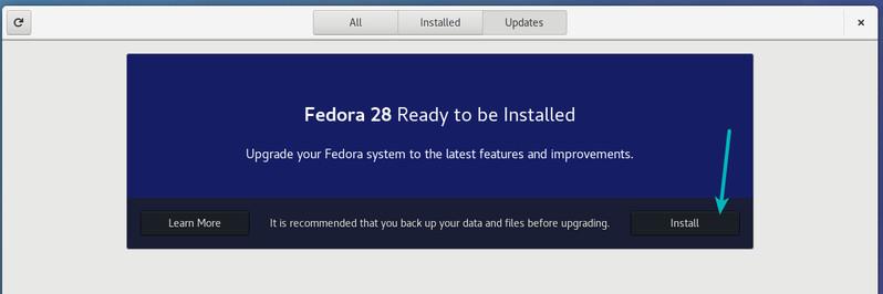 Обновить версию Fedora