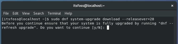 Actualización de la versión de Fedora en la línea de comando