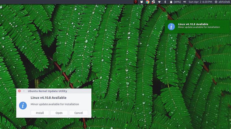 Pemberitahuan desktop untuk ketersediaan kernel Linux baru di Ubuntu