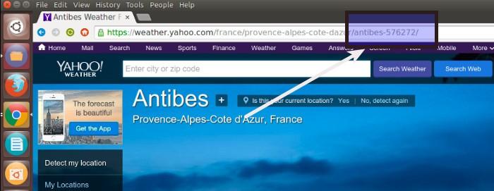 Получить идентификатор местоположения Yahoo