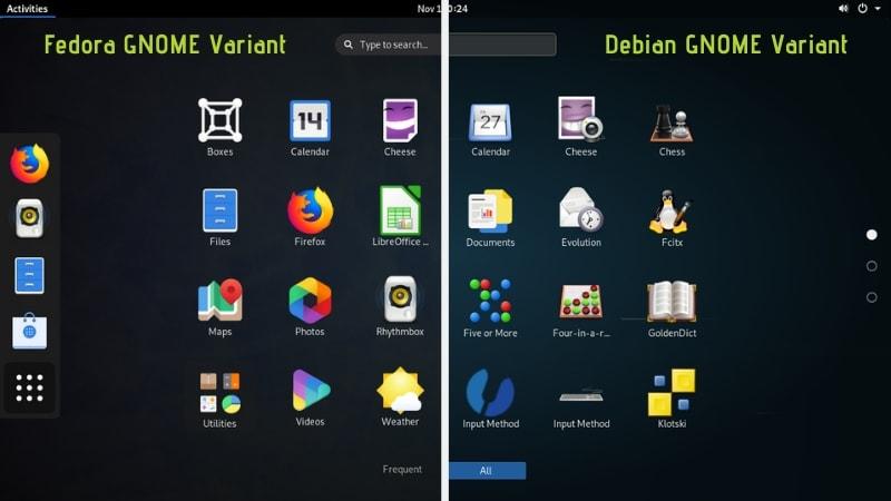 Fedora Gnome Vs Debian Gnome