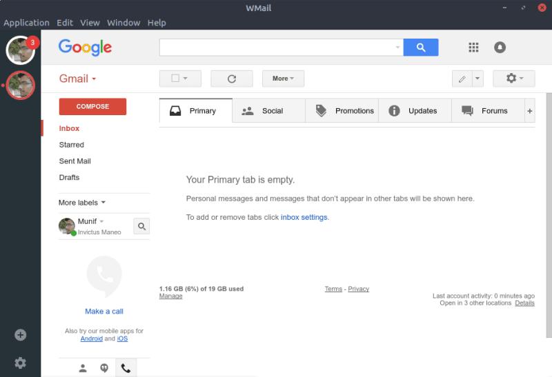 WMail con cuenta de Gmail