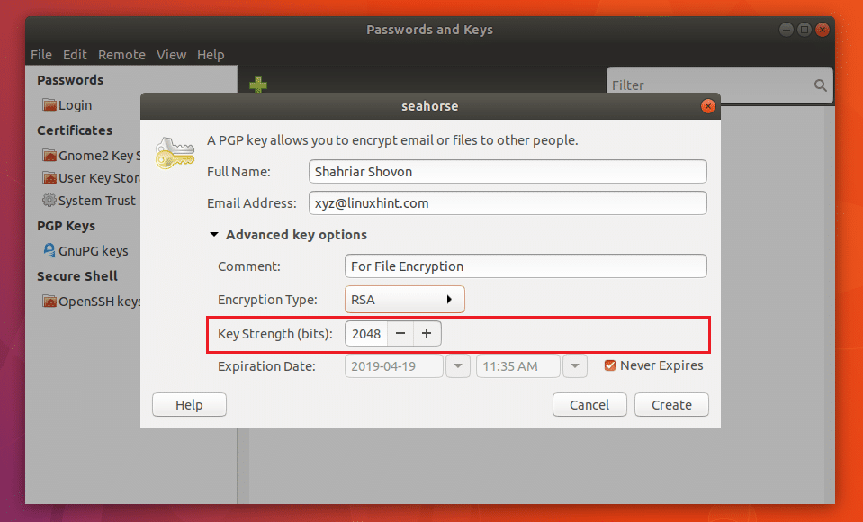 Шифрование морского конька Ubuntu