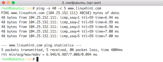 Размер пакета данных для Ping