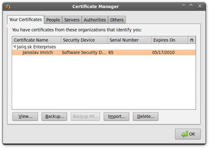 Firefox SSL-Zertifikatmanager