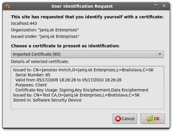 Wählen Sie das SSL-Zertifikat aus, das mit der SSL-Verbindung verwendet werden soll