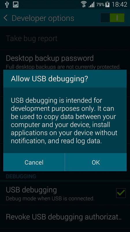 Отладка USB - режим отладки при подключении USB