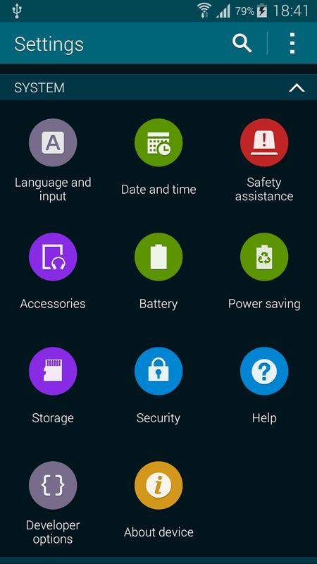 Вкладка «Параметры разработчика» Samsung Galaxy S5
