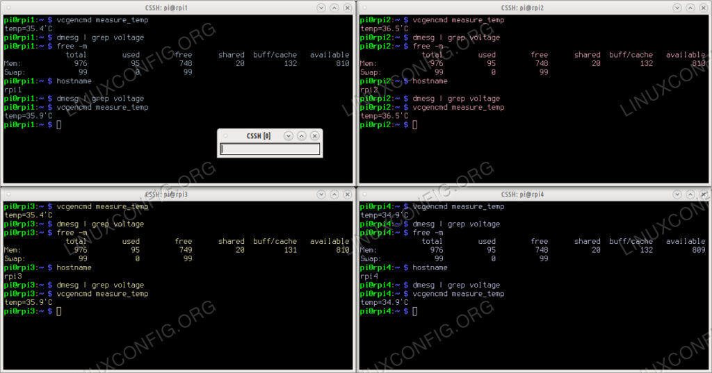 Вот кластер Raspberry Pi с четырьмя узлами, доступ к которому осуществляется через ClusterSSH