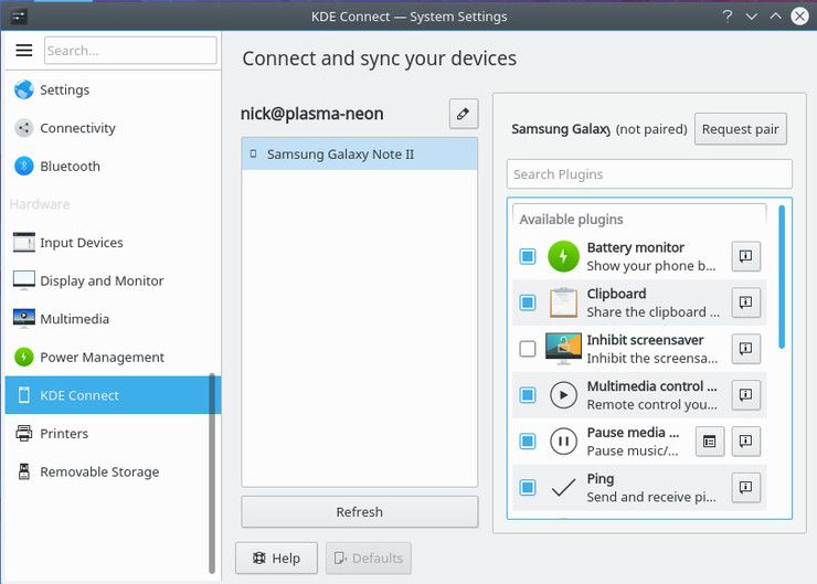 Настройки устройства KDE Connect