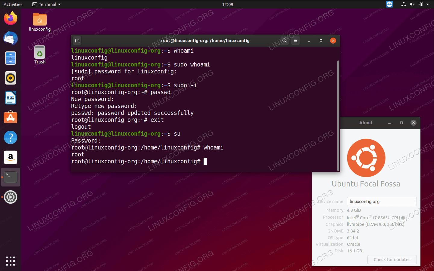 Доступ к корневой оболочке в Ubuntu 20.04 Focal Fossa Linux