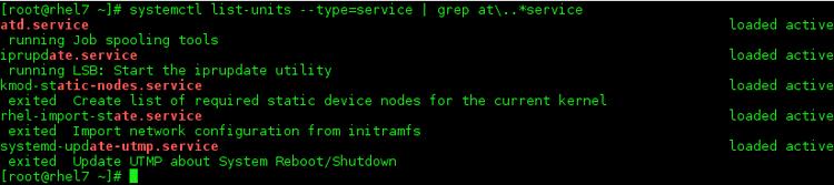 例rhel7でサービスをリストする