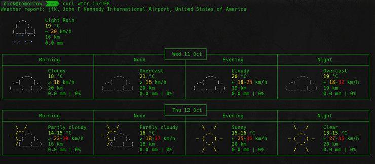 Погода по аэропорту от wttr.in