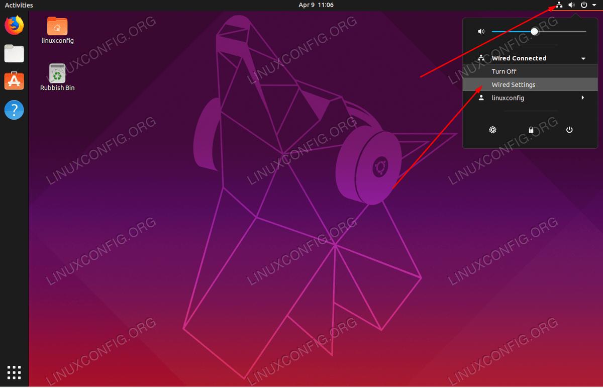 Нажмите в правом верхнем углу значок сети и проводные / беспроводные настройки