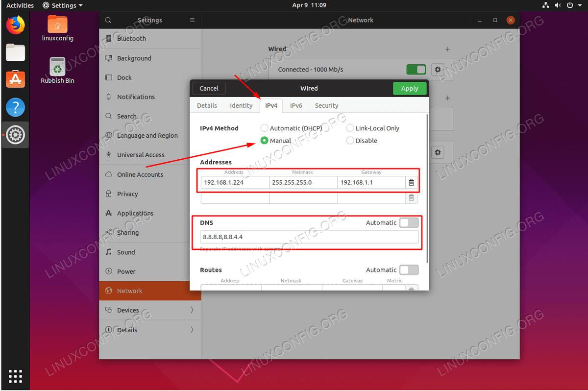 Настройка статического IP-адреса в Ubuntu 19.04 Disco Dingo Linux Desktop