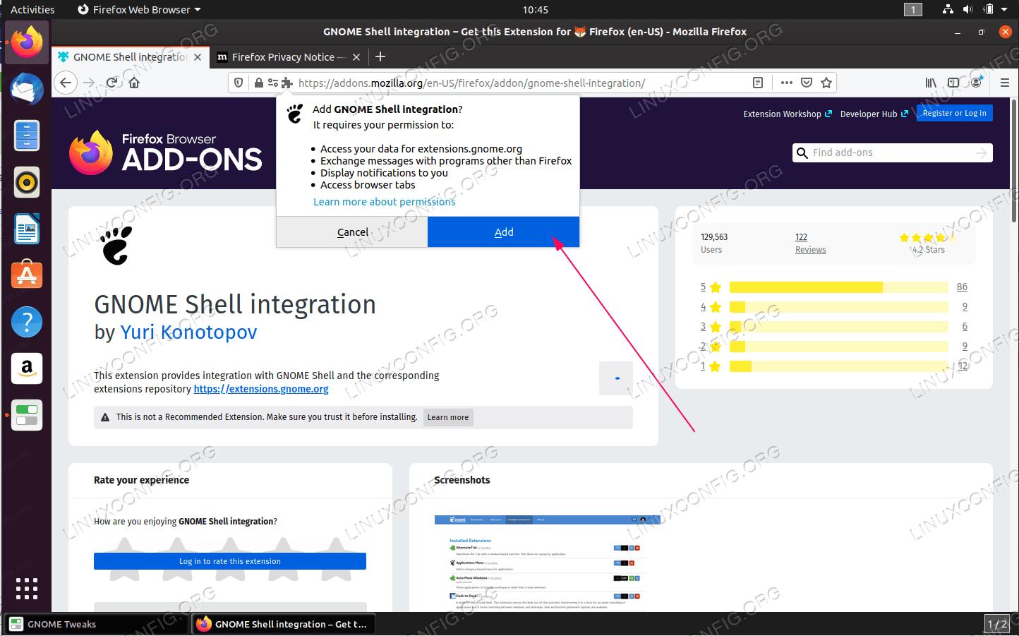 Добавить разрешение в дополнение к GNOME Shell