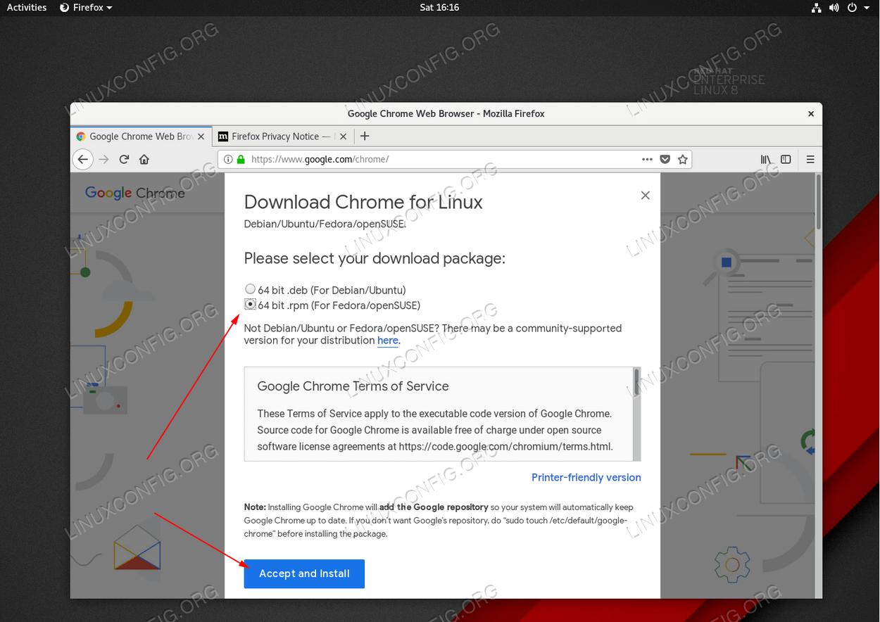 Загрузите пакет Google Chrome RPM