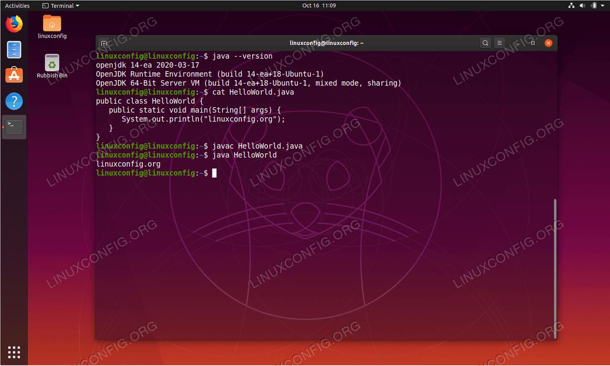 Java в Ubuntu 19.10 Eoan Ermine Linux