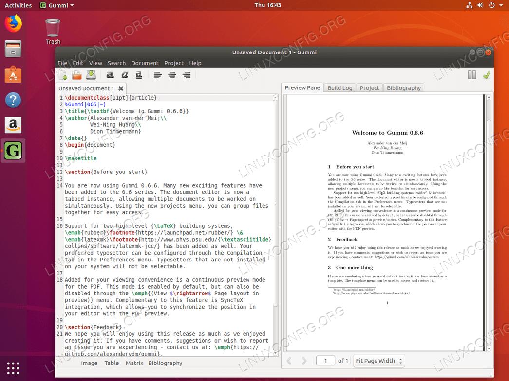 Gummi LaTeX редактор в Ubuntu 18.04