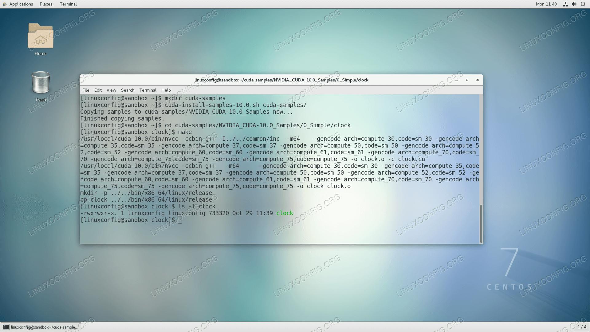Скомпилировать пример программы CUDA на CentOS 7 Linux