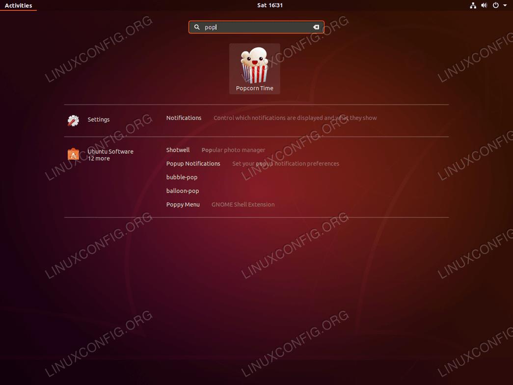 Ubuntu 18.04 Линукс Попкорн Время запуска приложения