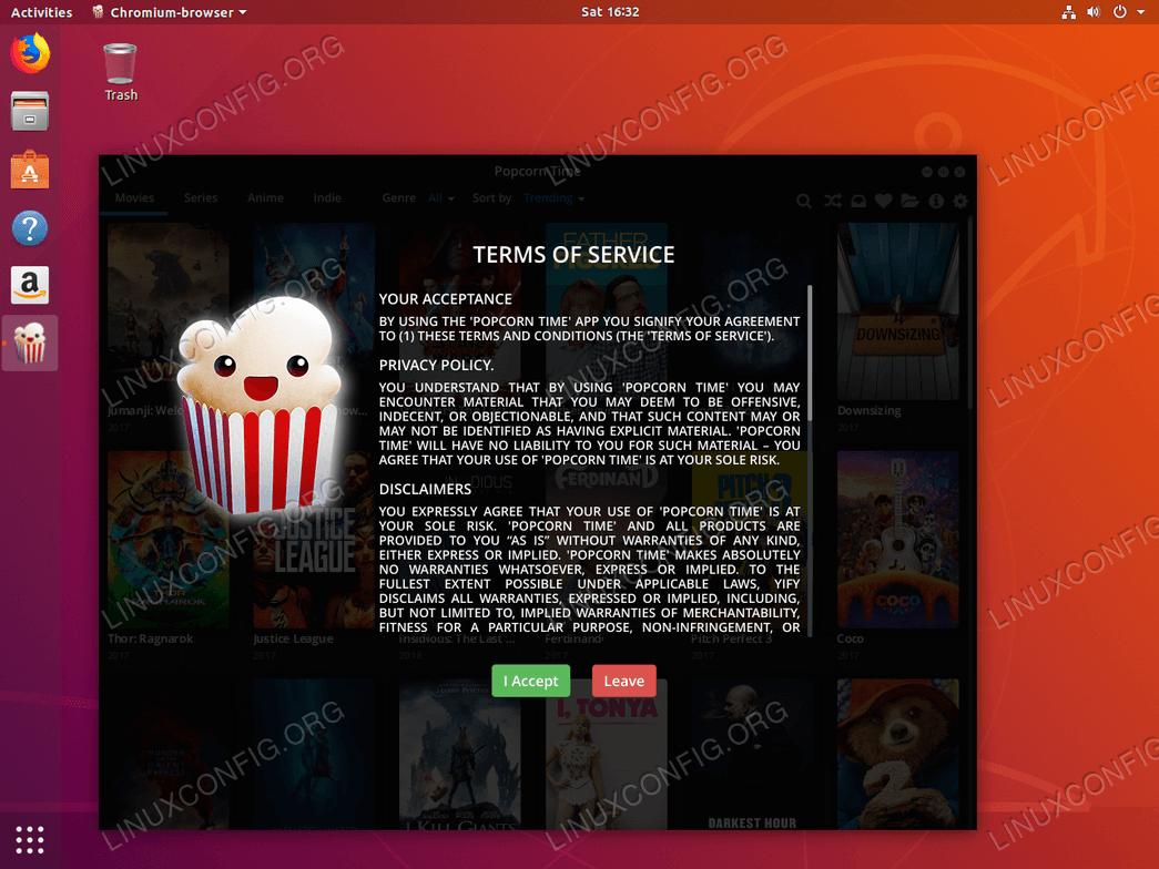 Ubuntu 18.04 Linux Linux PopCorn Time License