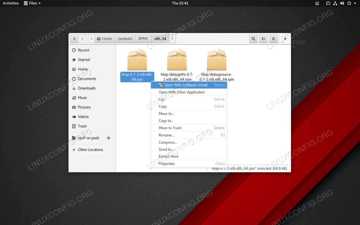 Пакеты RPM можно дважды щелкнуть на установленном с помощью Software Center