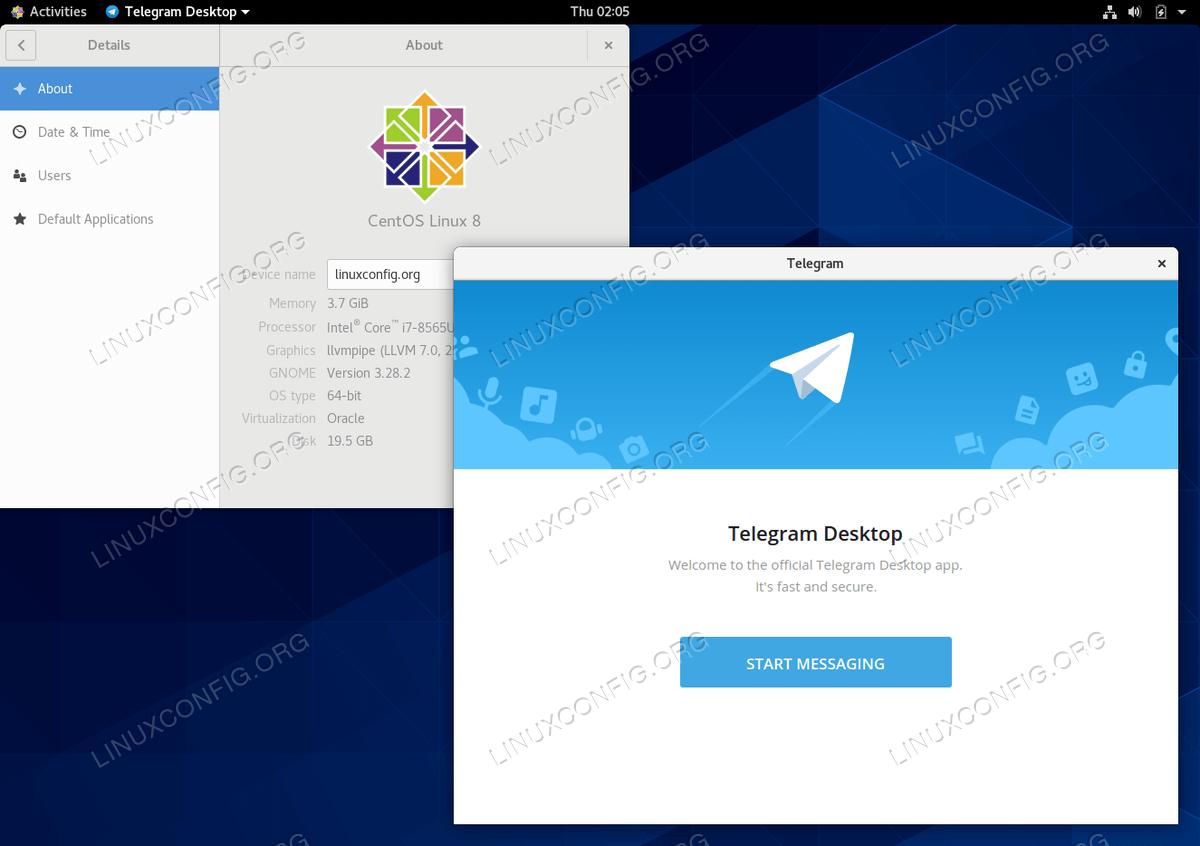 Телеграмм мессенджер на CentOS 8 Linux