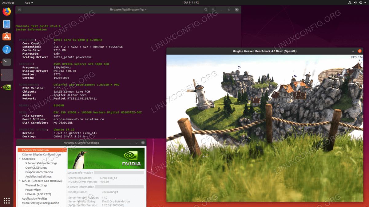 Установленные драйверы NVIDIA на Ubuntu 19.10 Eoan Ermine Linux