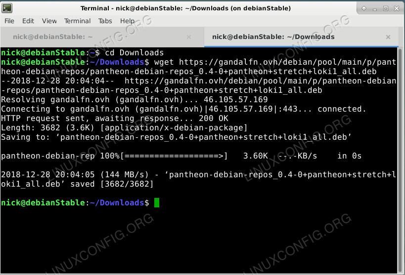 Faça o download do Repositório Pantheon no Debian