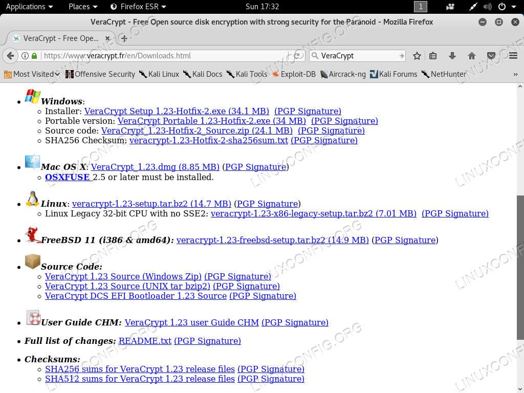 Скачать VeraCrypt на Kali Linux