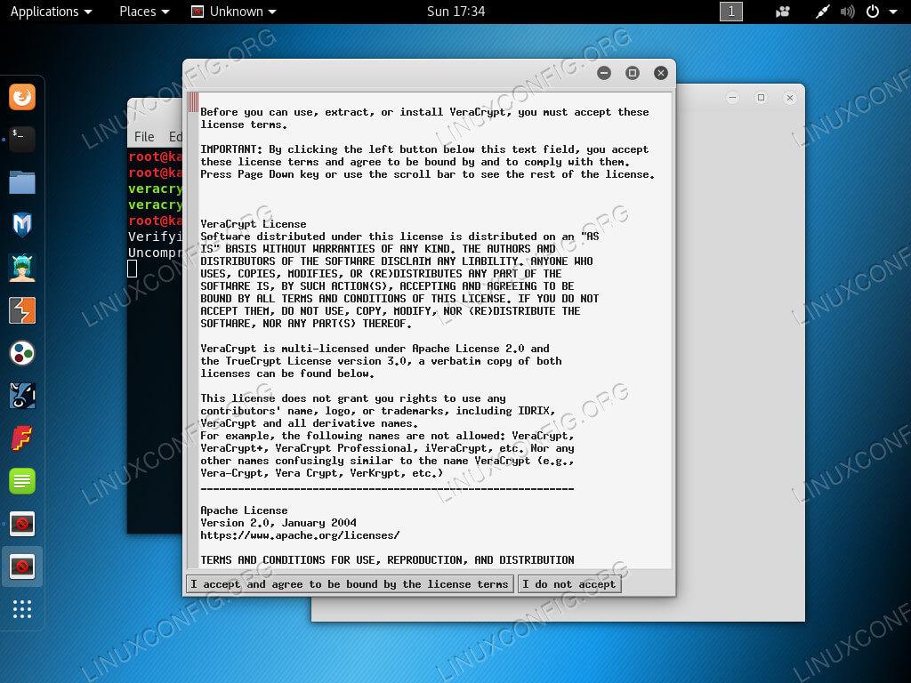 Принять лицензию VeraCrypt на Kali Linux