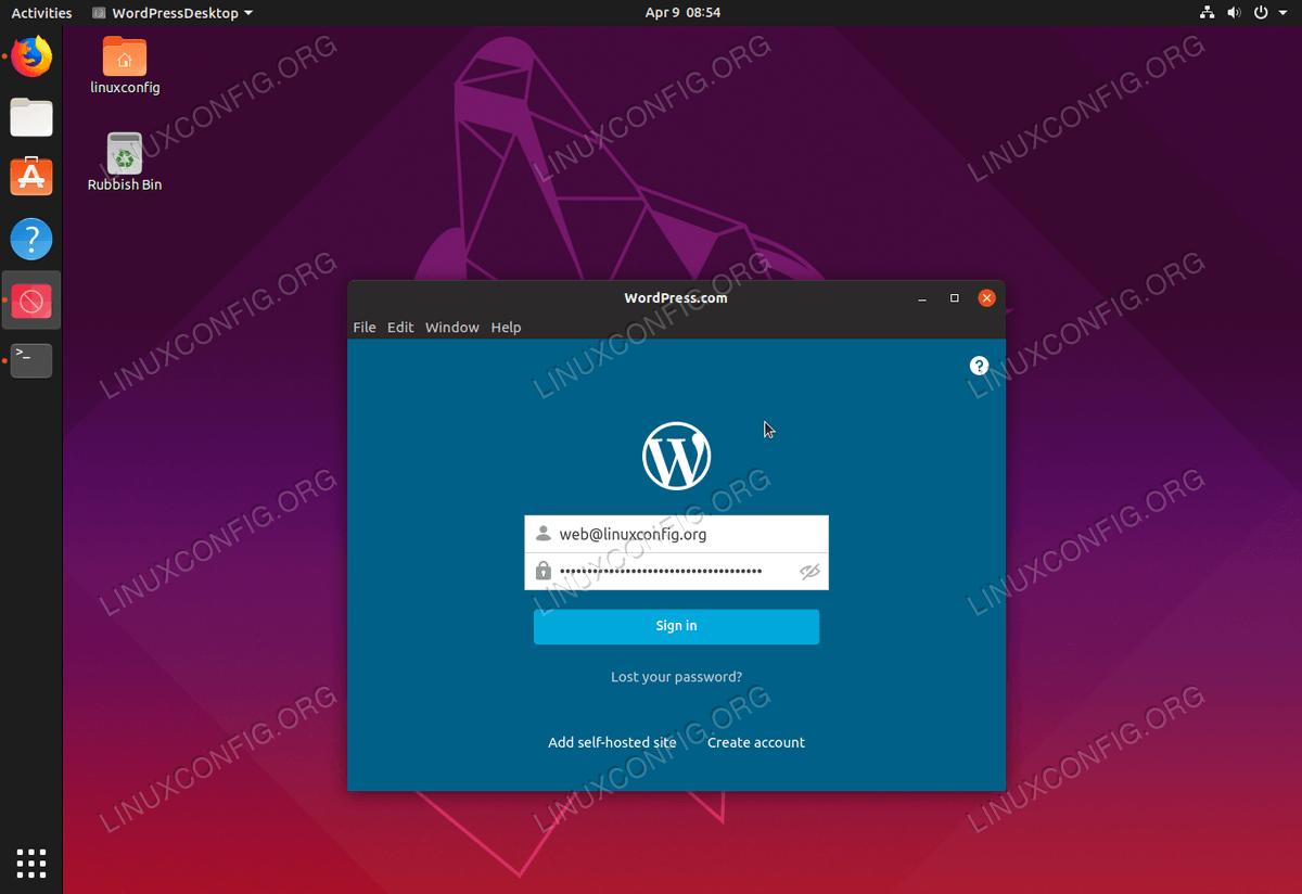 Настольное клиентское приложение WordPress.com для Ubuntu 19.04 Disco Dingo