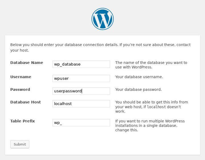 Debian Stretch上的WordPress数据库设置