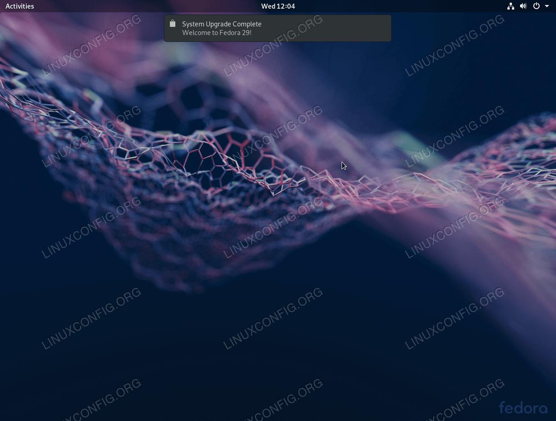 Полностью обновленная Fedora 28 до рабочей станции Fedora 29