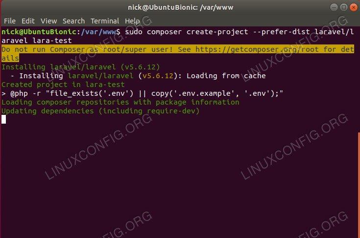 Instale o Laravel com o Composer no Ubuntu 18.04