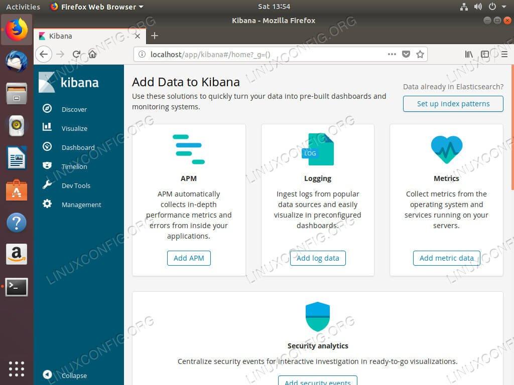 Kibana работает на Ubuntu 18.04