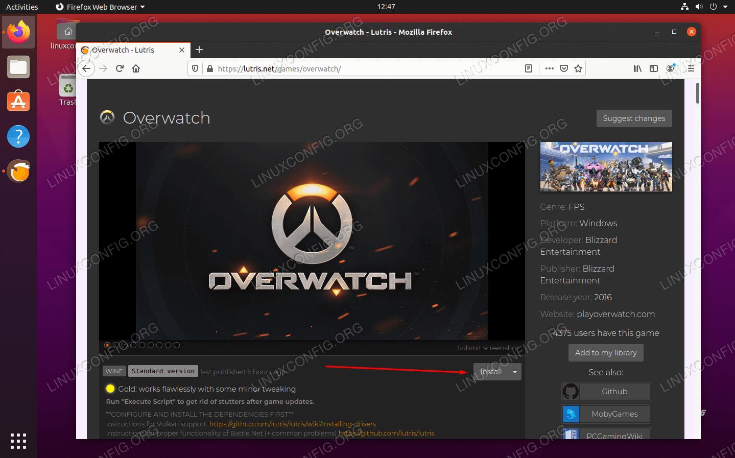 入手したいゲームでインストールをクリックします