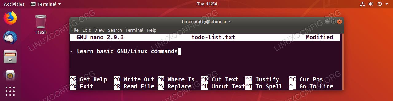 Bearbeiten Sie den Dateiinhalt, indem Sie den gewünschten Text eingeben.  Wenn Sie fertig sind, drücken Sie die Tastenkombination STRG + o, um den aktuellen Dateiinhalt zu speichern.