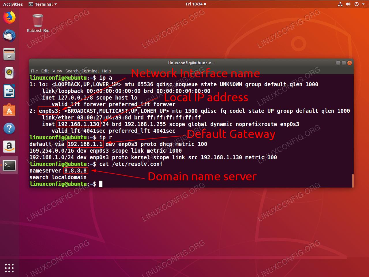 Linux-Befehle zum Abrufen der grundlegenden Informationen zur Netzwerkkonfiguration.