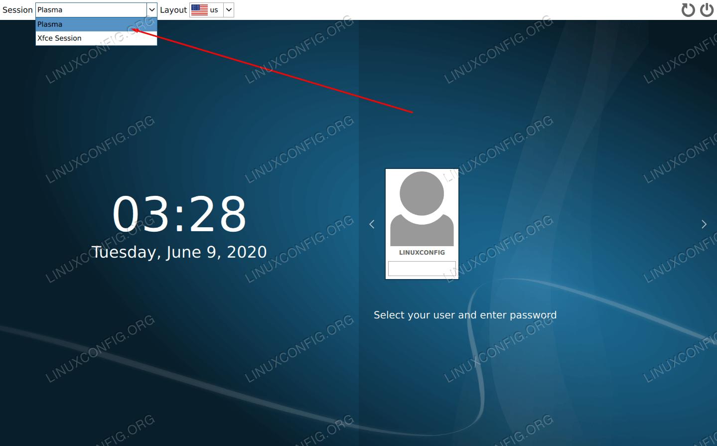 Anmeldebildschirm mit geladenem KDE Plasma